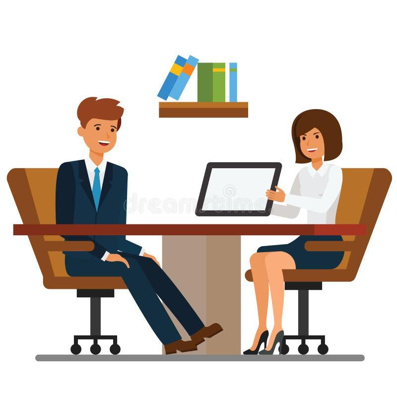 Biznesmena i bizneswomanu dyskusja w biurowej kreskówki płaskim wektorowym ilustracyjnym pojęciu na odosobnionym białym tle ilustracja wektor