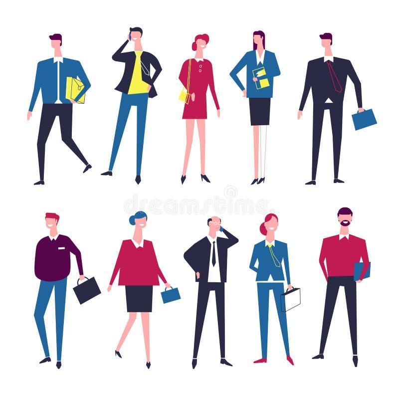 Biznesmena i bizneswomanu kierowników kreskówki wektorowe ikony ilustracji
