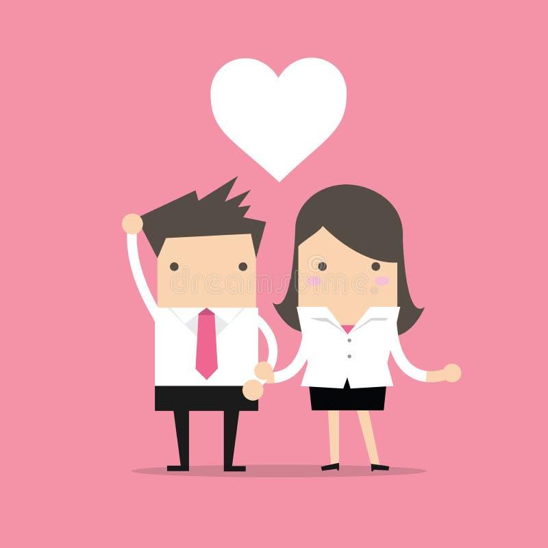 Biznesmena i bizneswomanu uczucia miłość w biurze ilustracja wektor