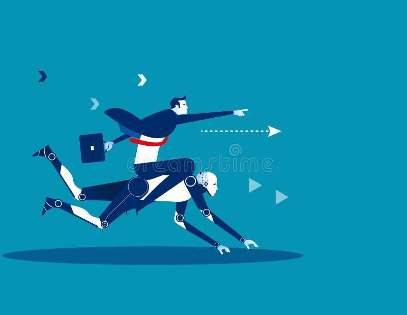 Biznesmena Jeździecki robot Pojęcie technologii wektoru biznesowa bolączka royalty ilustracja