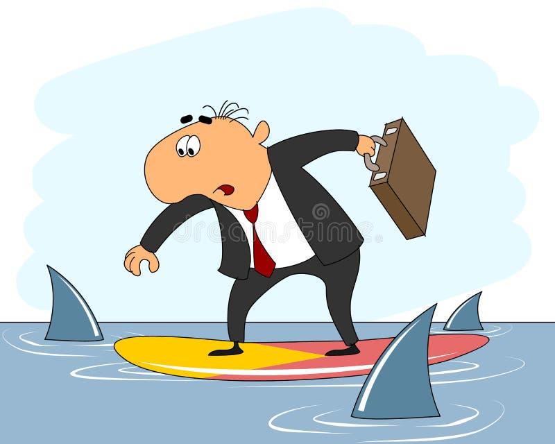 Biznesmena jeździecki surfboard ilustracja wektor
