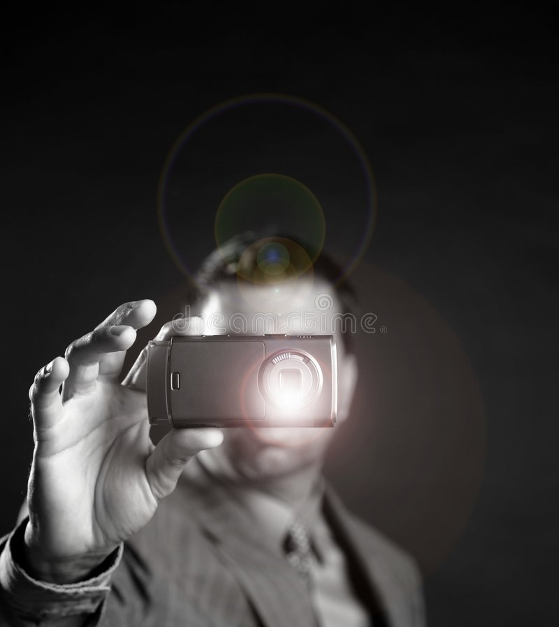 biznesmena kamery mobilny fotografii zabranie obrazy royalty free
