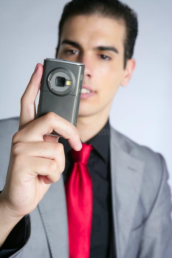 biznesmena kamery telefonu fotografii zabranie fotografia stock