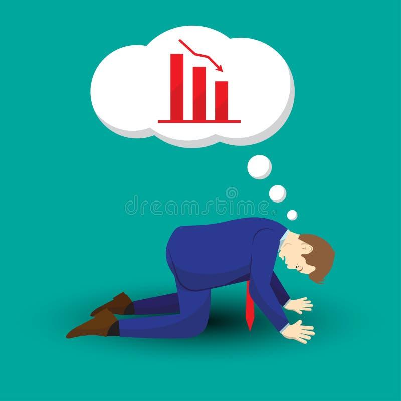 Biznesmena klęczenie I główkowanie Opadający wykresy ilustracji