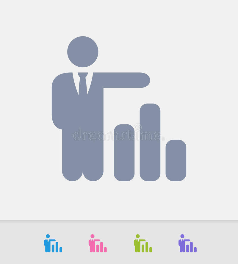 Biznesmena & kolumny wykres - Granitowe ikony ilustracja wektor