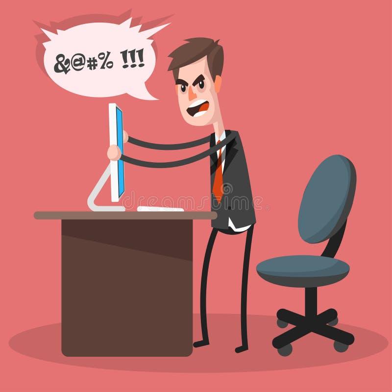 Biznesmena komputeru trzaski ilustracji