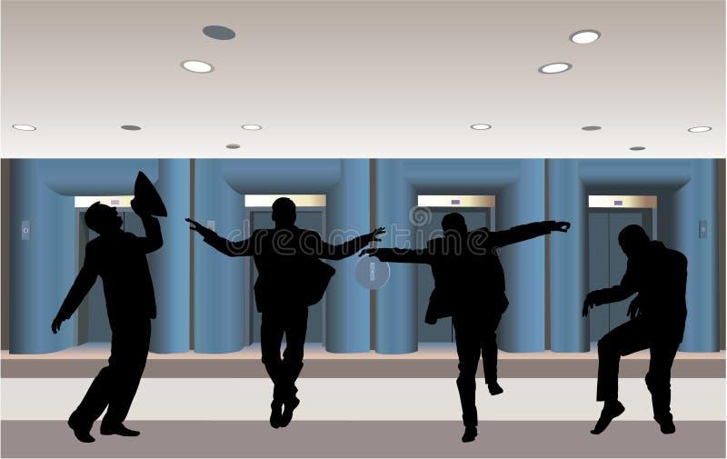 biznesmena korytarza szczęśliwy sylwetki wektor ilustracji