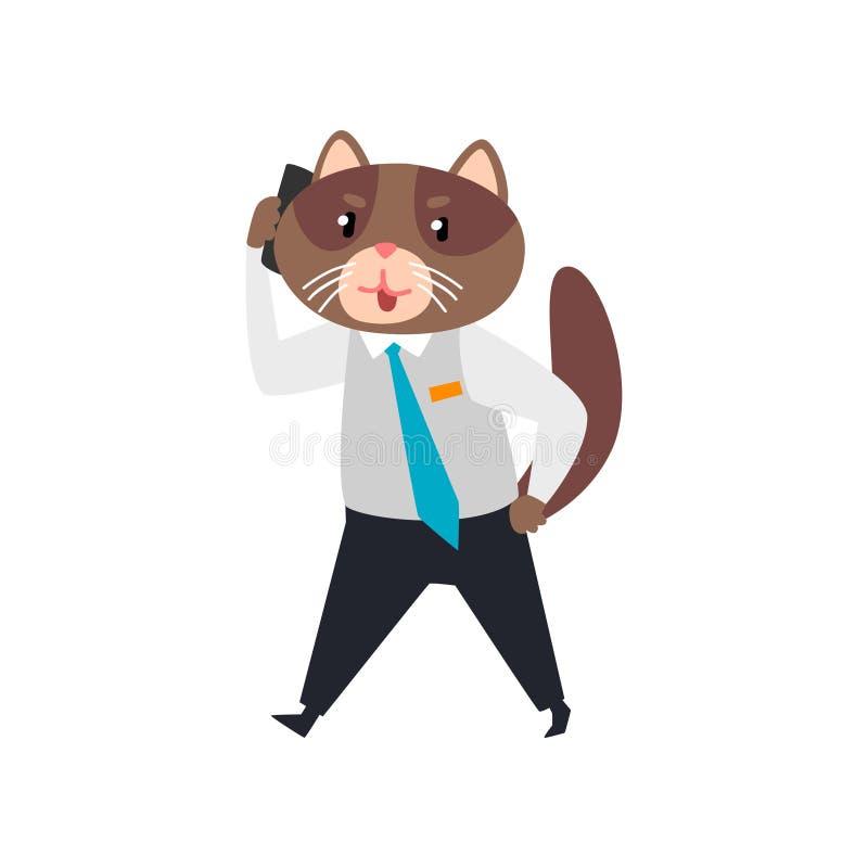 Biznesmena kot opowiada na telefonie, zhumanizowana zwierzęca postać z kreskówki przy praca wektoru ilustracją ilustracja wektor