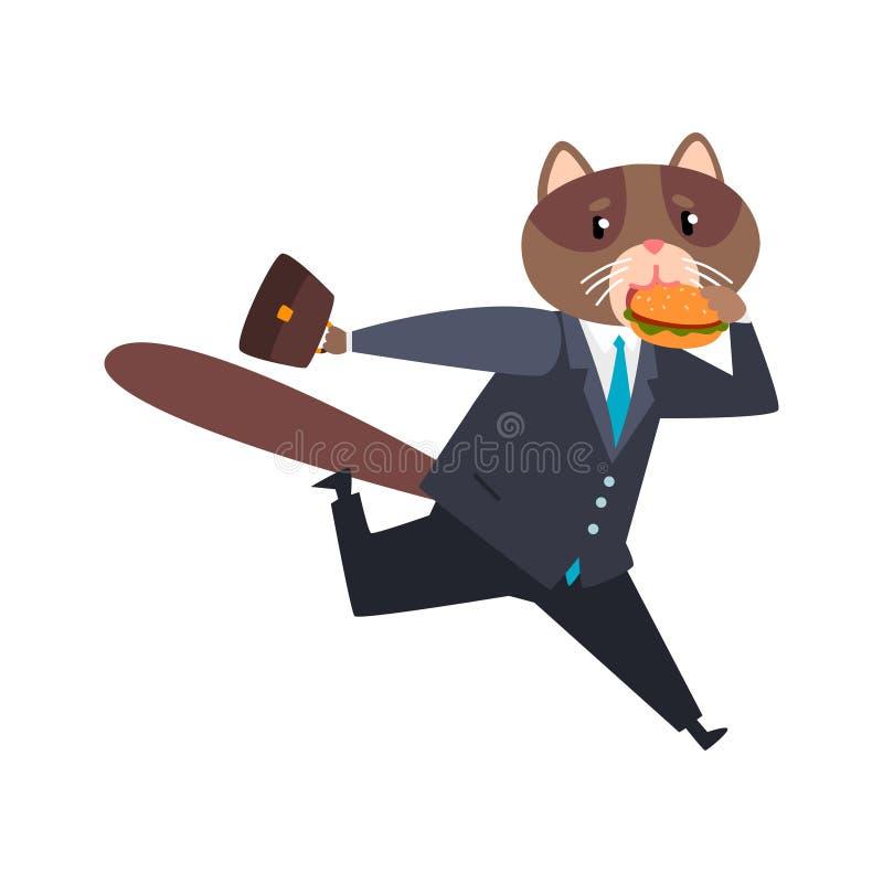 Biznesmena kota bieg i łasowania burgeer, zhumanizowana zwierzęca postać z kreskówki w kostiumu przy praca wektoru ilustracją ilustracja wektor