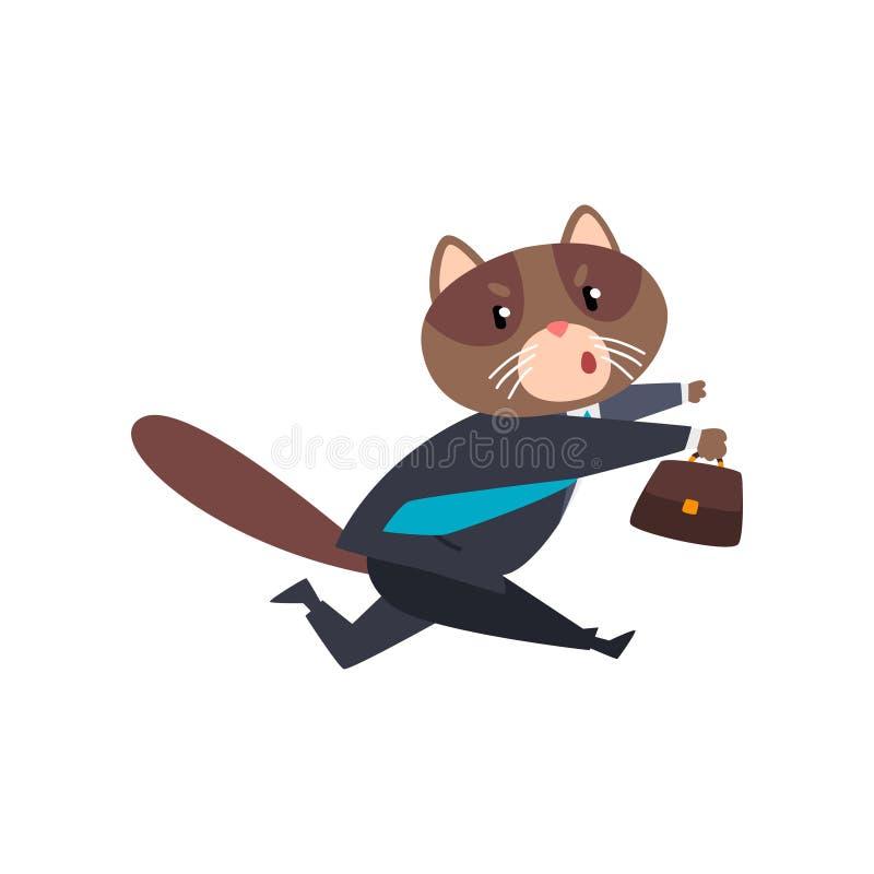 Biznesmena kota bieg z teczką, zhumanizowana zwierzęca postać z kreskówki w kostiumu przy praca wektoru ilustracją ilustracja wektor