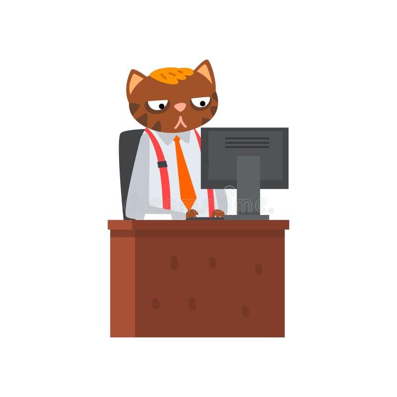 Biznesmena kota obsiadanie przy biurkiem i działanie przy komputerową, zhumanizowaną zwierzęcą postacią z kreskówki w kostiumu pr ilustracji