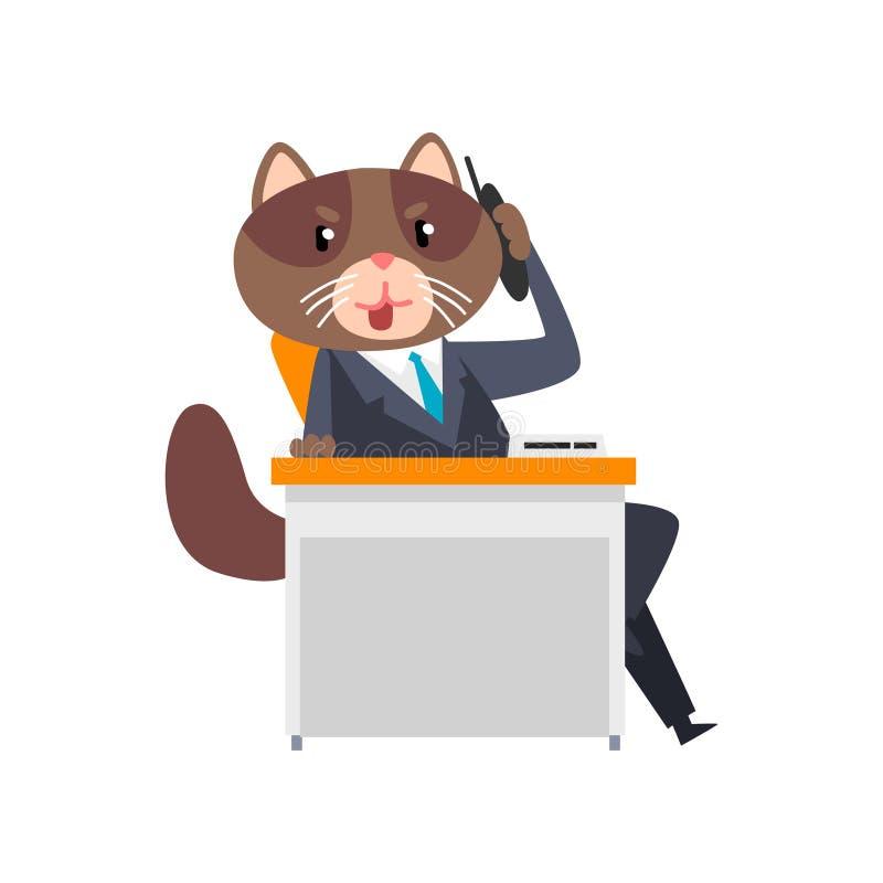 Biznesmena kota obsiadanie przy biurkiem i opowiadać na telefonie, zhumanizowana zwierzęca postać z kreskówki w kostiumu przy pra ilustracja wektor