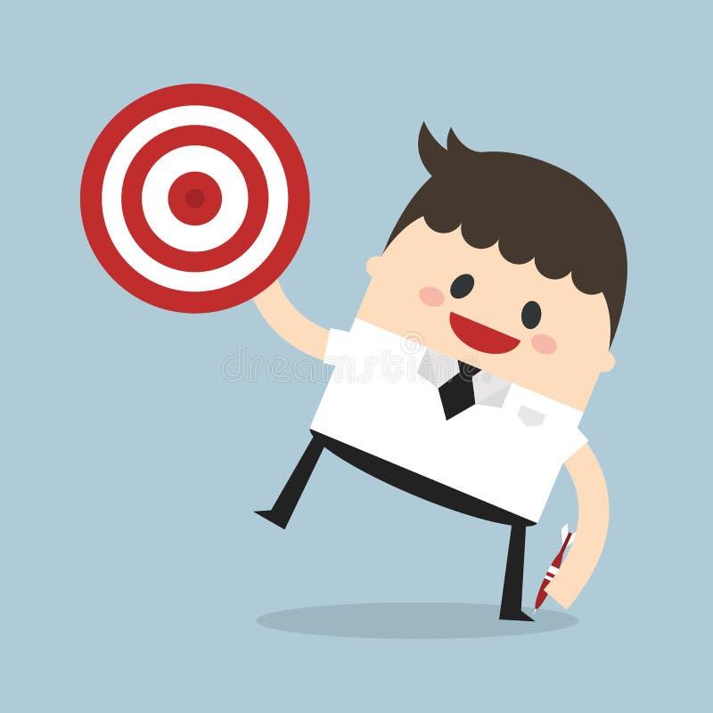 Biznesmena krótkopędu cel, płaski projekt ilustracji