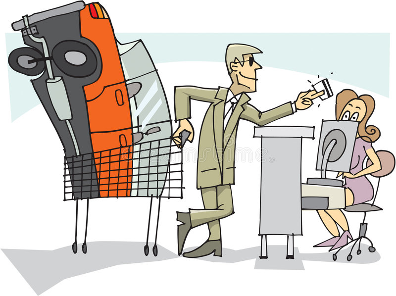 biznesmena kupienia samochód royalty ilustracja