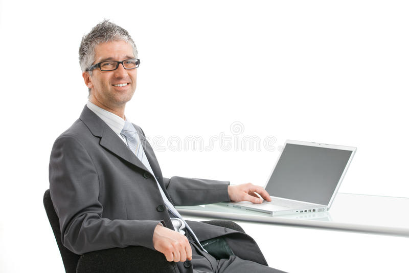 biznesmena laptopu działanie fotografia royalty free