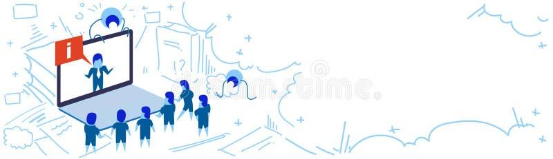 Biznesmena laptopu ekranu gadki ewidencyjnego bąbla online seminaryjni ludzie grupują brainstorming forum komunikaci pojęcie ilustracji