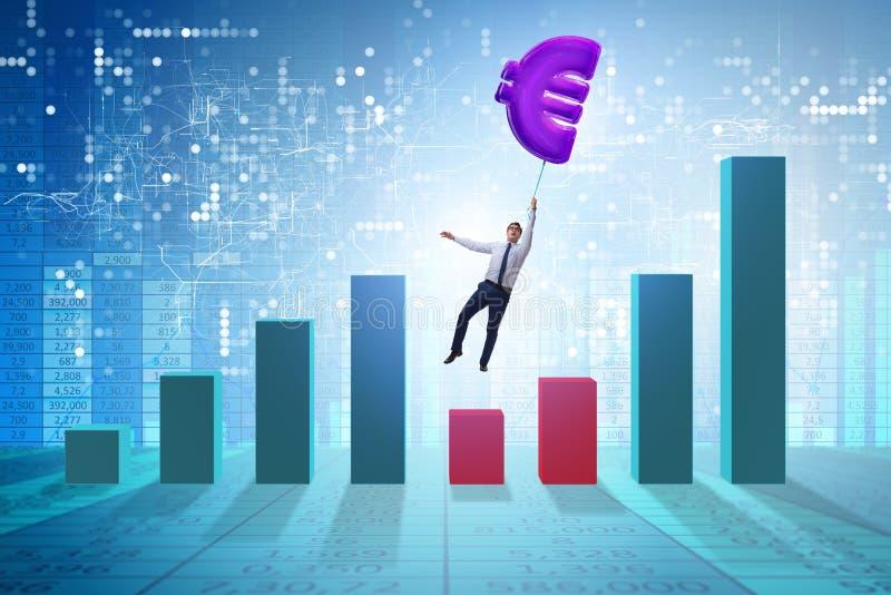 Biznesmena latanie na euro znaka nadmuchiwanym balonie ilustracja wektor
