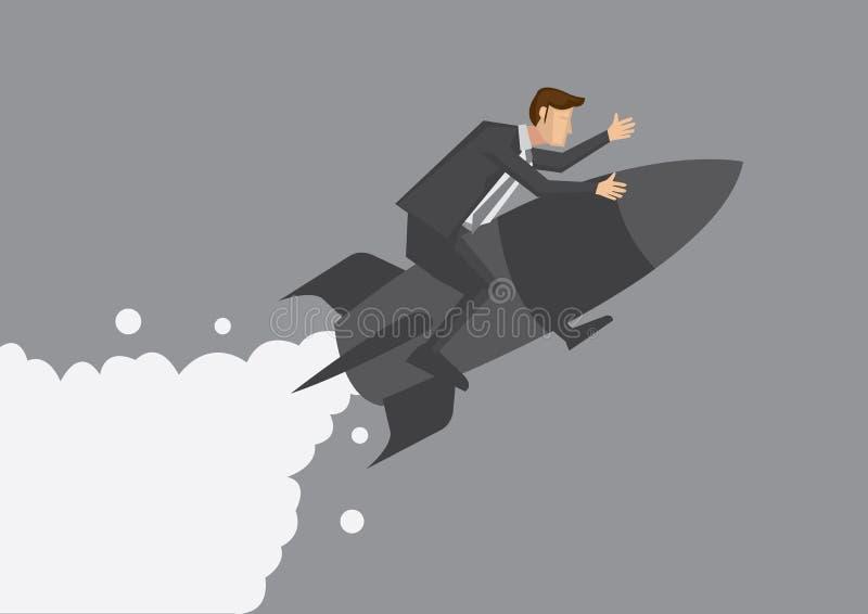 Biznesmena latanie na rakietowej wektorowej ilustracji ilustracja wektor