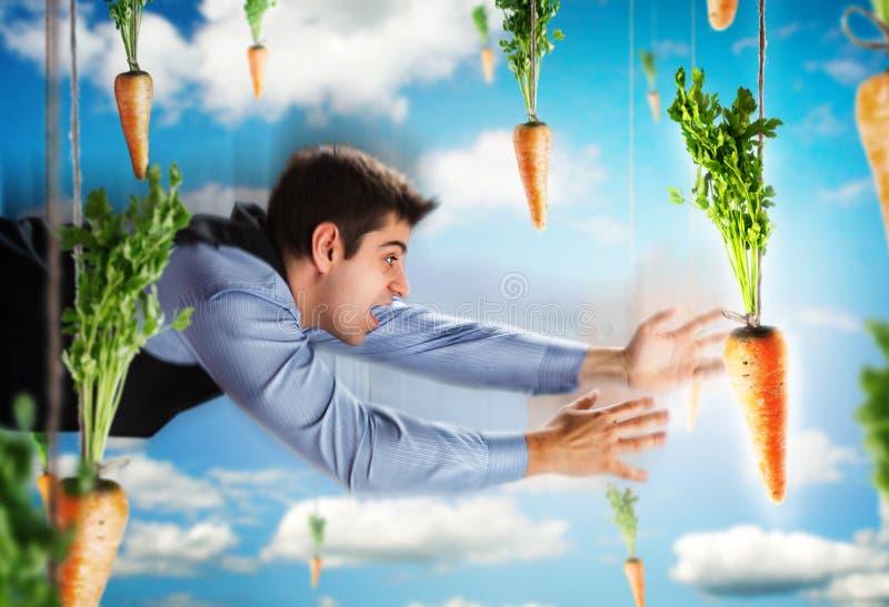 Biznesmena latanie z marchewkami obrazy stock