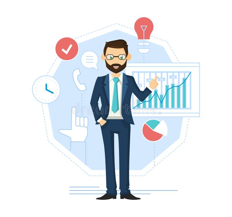 Biznesmena lider, pomyślny przedsiębiorca Zarządzanie finansami, kontrola, analiza ilustracji