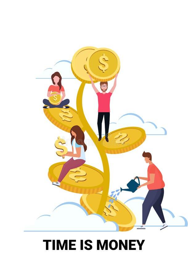 Biznesmena lider zespołu nawadnia dolarowego roślina przyrosta bogactwa czas jest pieniądze pojęcia ludźmi siedzi na złotej drzew royalty ilustracja