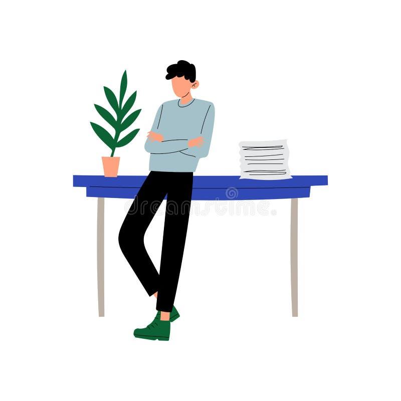 Biznesmena lub urzędnika pozycja Obok biurka, młody człowiek Pracuje w Biurowej Wektorowej ilustracji ilustracja wektor
