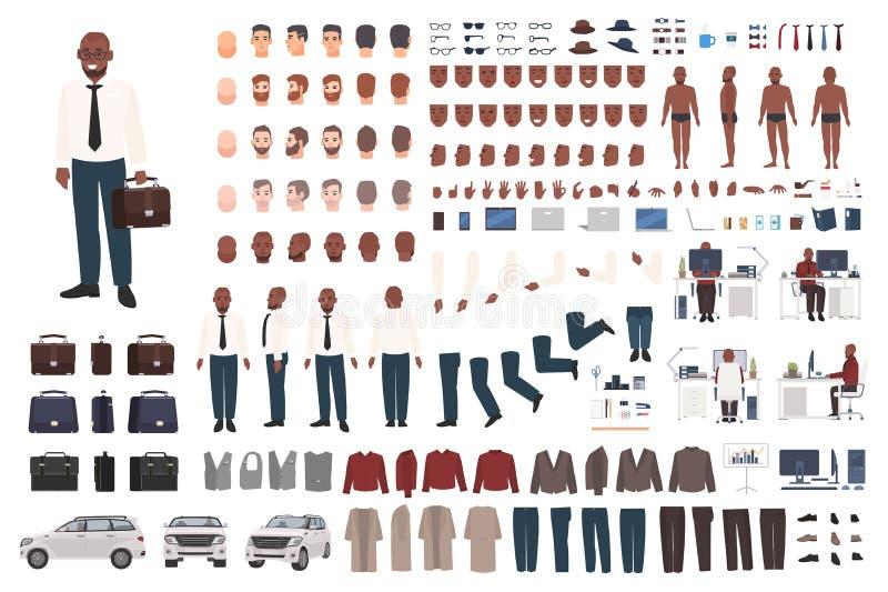 Biznesmena lub urzędnika tworzenia zestaw Kolekcja płaskie męskie postać z kreskówki części ciała, twarzowi gesty, mądrze royalty ilustracja