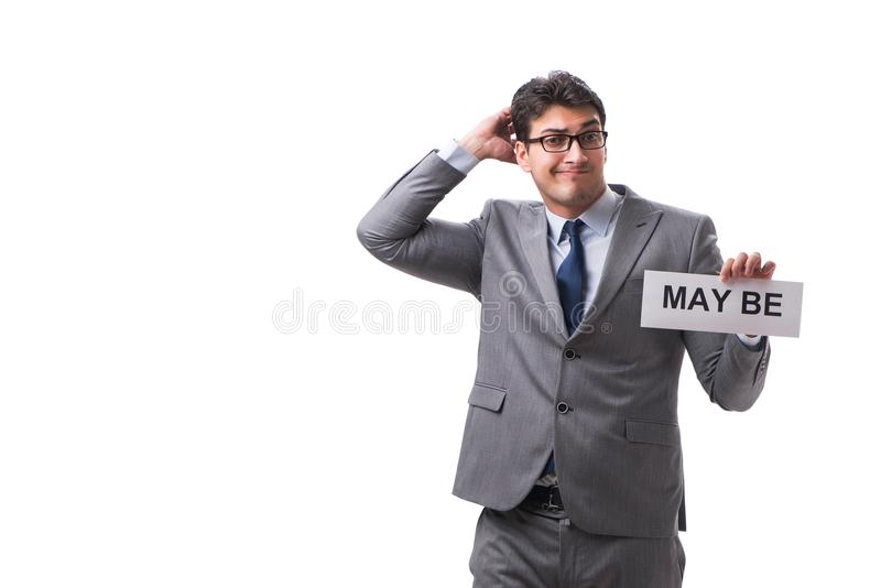 Biznesmena mówić może odizolowywający na białym tle obraz stock