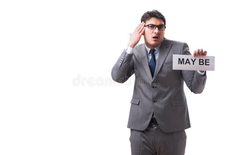Biznesmena mówić może odizolowywający na białym tle fotografia stock
