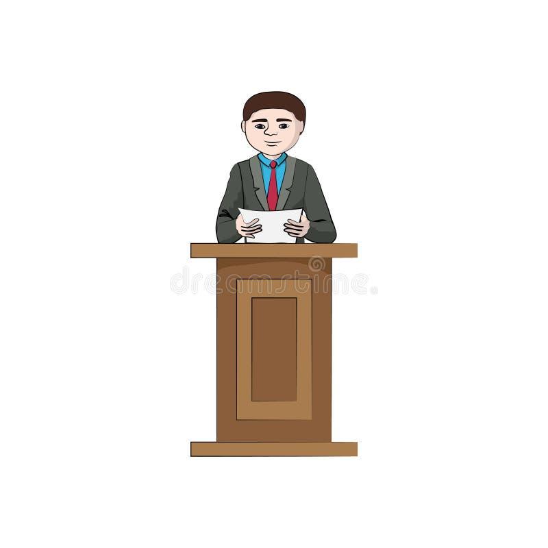 Biznesmena mężczyzna, chłopiec na trybuny podium ilustracja wektor