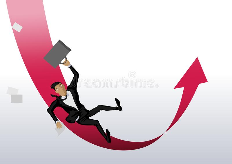 Biznesmena mężczyzna spada puszek i wtedy wzrasta up czerwona strzała royalty ilustracja