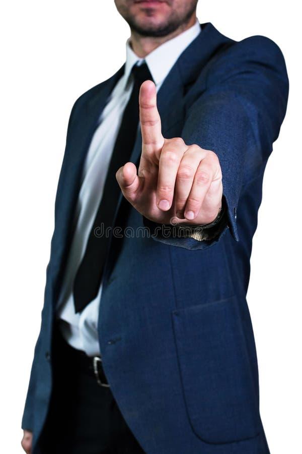 Biznesmena mężczyzna w kurtce i białej koszula zdjęcia stock