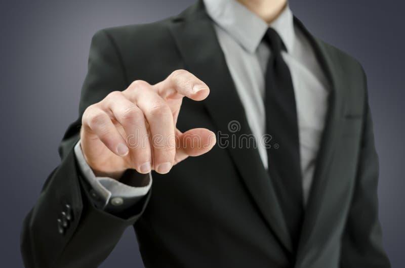 Biznesmena macania pusty wirtualny ekran obrazy stock