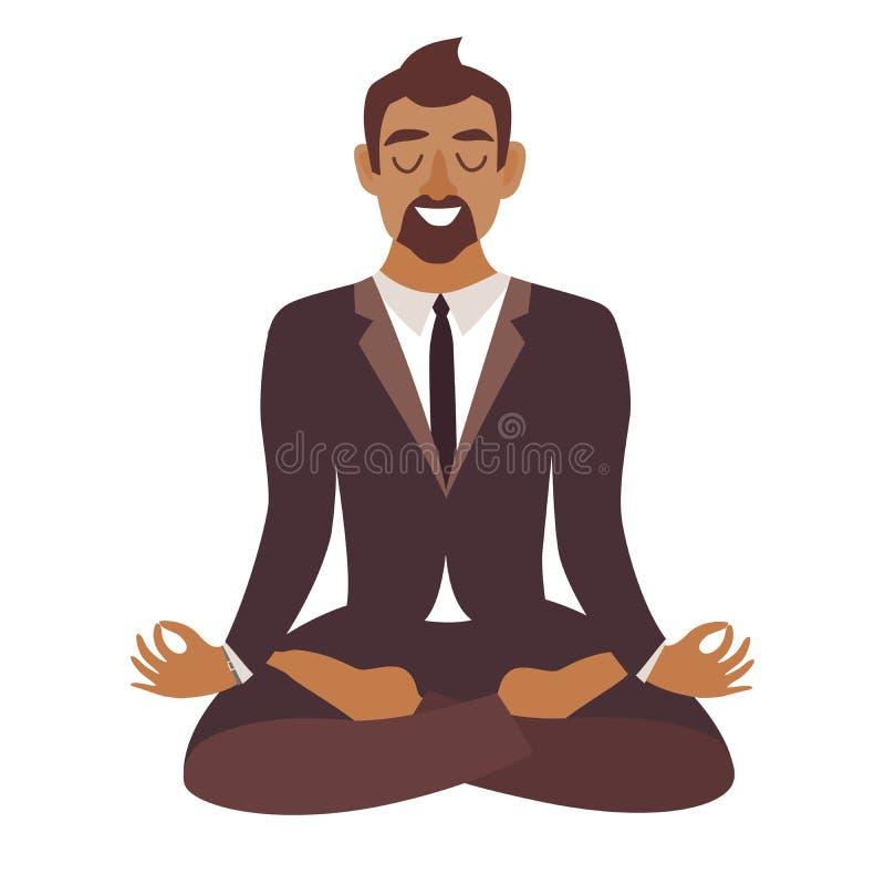 Biznesmena medytować Pojęcie spokojny biznes, Afroamerykańska mężczyzna praca przy biurem Biznesmen w joga pozie, lotosowa pozycj royalty ilustracja
