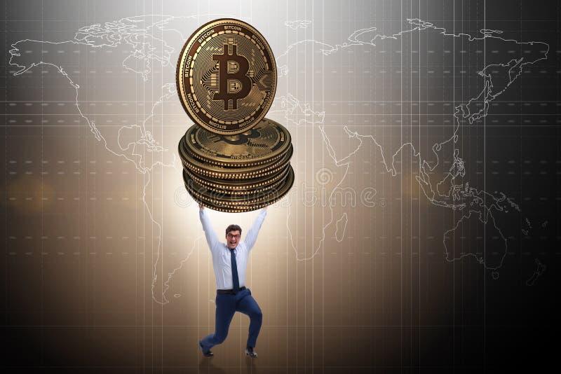 Biznesmena mienia bitcoin w cryptocurrency blockchain pojęciu fotografia stock