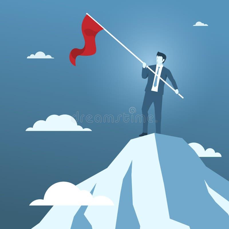Biznesmena mienia czerwona flaga na wierzchołku góra ilustracja wektor