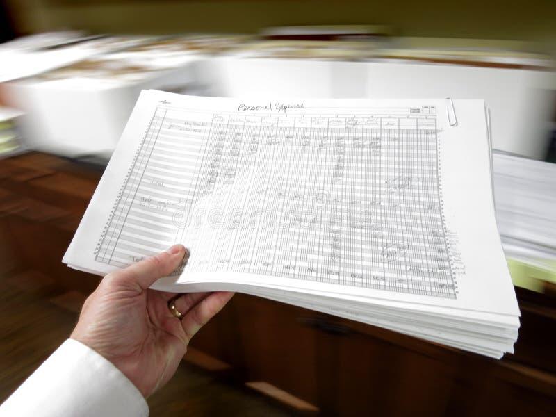 Biznesmena mienia dokumenty obrazy royalty free