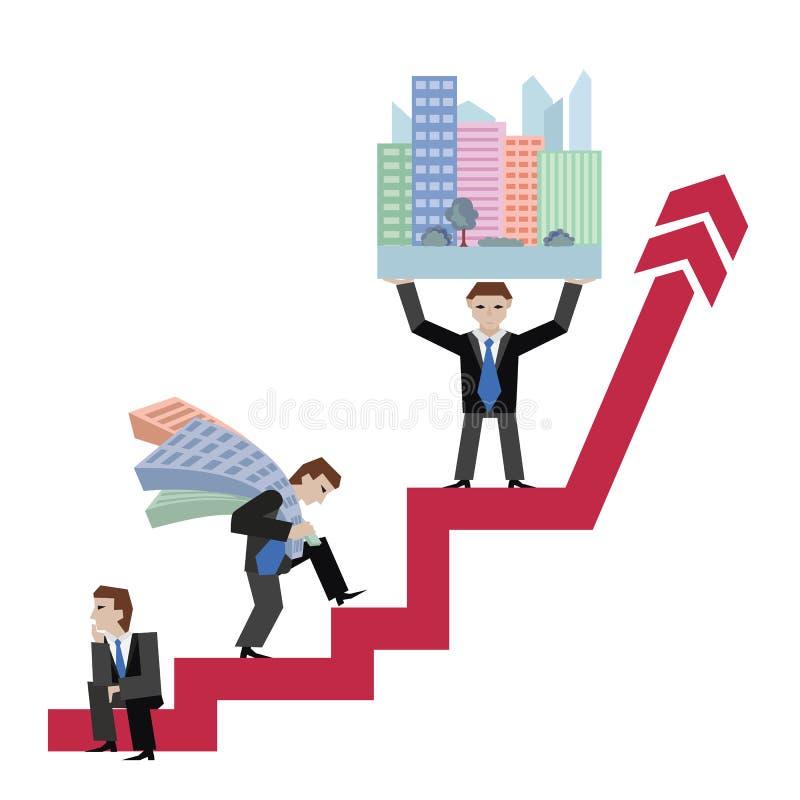 Biznesmena mienia domy Biznesowy pojęcie rynek nieruchomości z strzała Wektorowa ilustracja trzy businessmans z hou ilustracja wektor