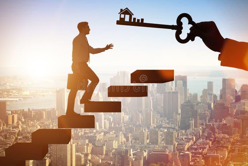 Biznesmena mienia klucz w nieruchomości pojęciu ilustracja wektor