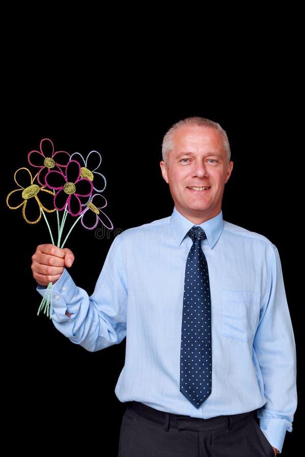 Biznesmena mienia kreda rysujący kwiaty fotografia royalty free