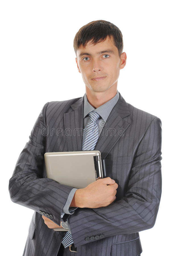 biznesmena mienia laptop obrazy stock