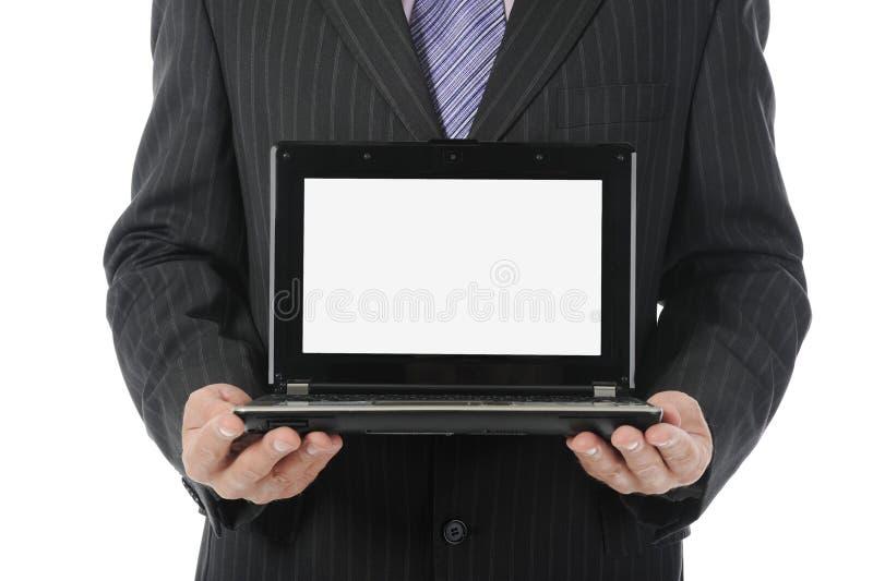 biznesmena mienia laptop otwarty obrazy royalty free