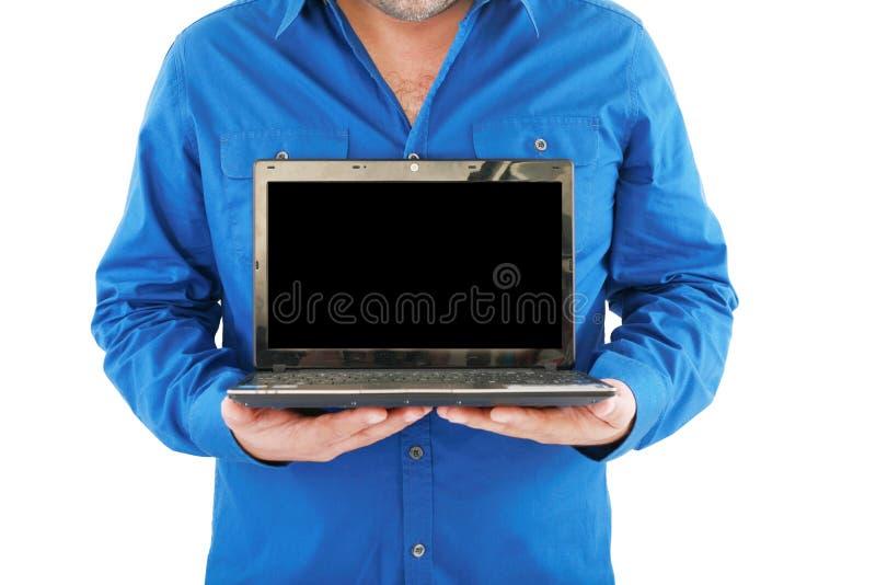 biznesmena mienia laptop otwarty zdjęcie stock