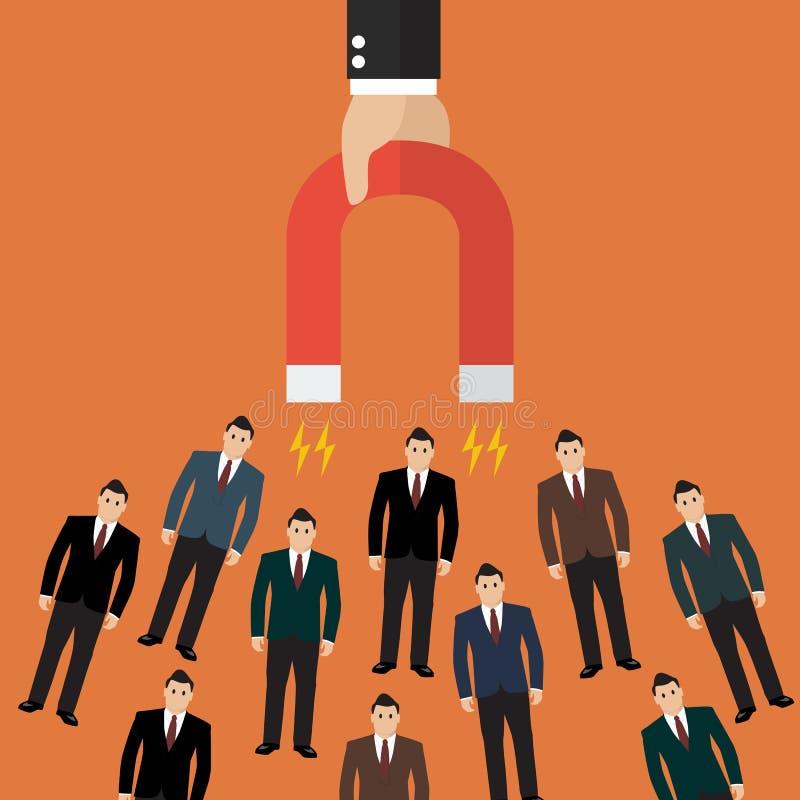 Biznesmena mienia magnes przyciąga klientów i klientów b ilustracja wektor