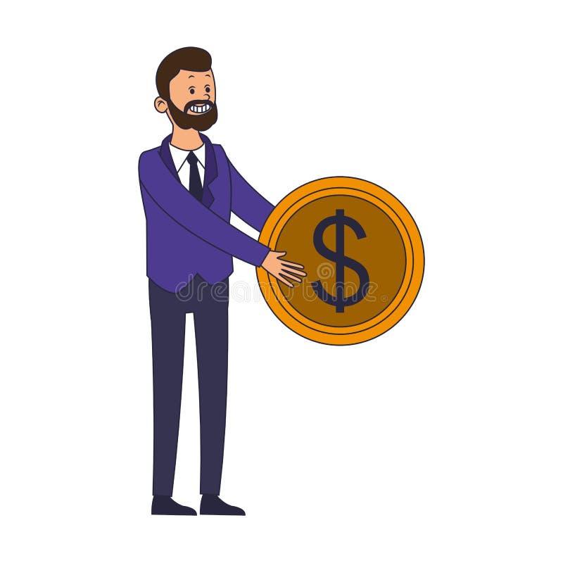 Biznesmena mienia moneta ilustracja wektor