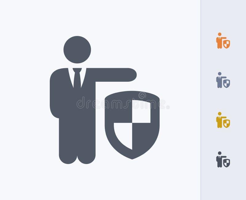 Biznesmena mienia osłona - węgiel ikony obraz stock
