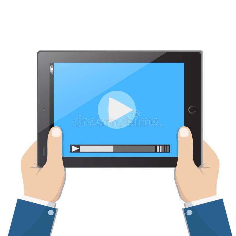 Biznesmena mienia pastylki komputer z odtwarzacz wideo na ekranie w ludzkich r?kach, wektorowa ilustracja ilustracja wektor