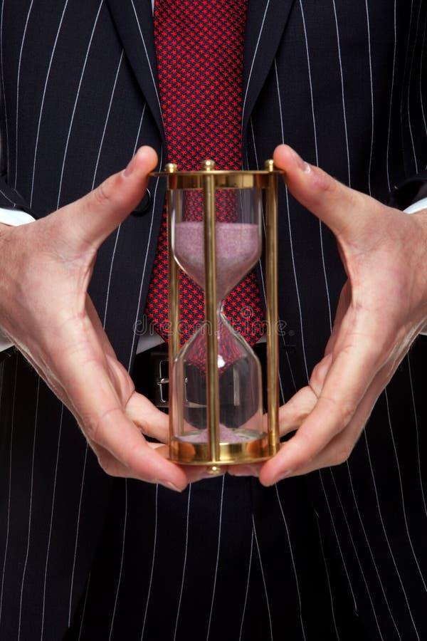 biznesmena mienia piaska zegar zdjęcia royalty free
