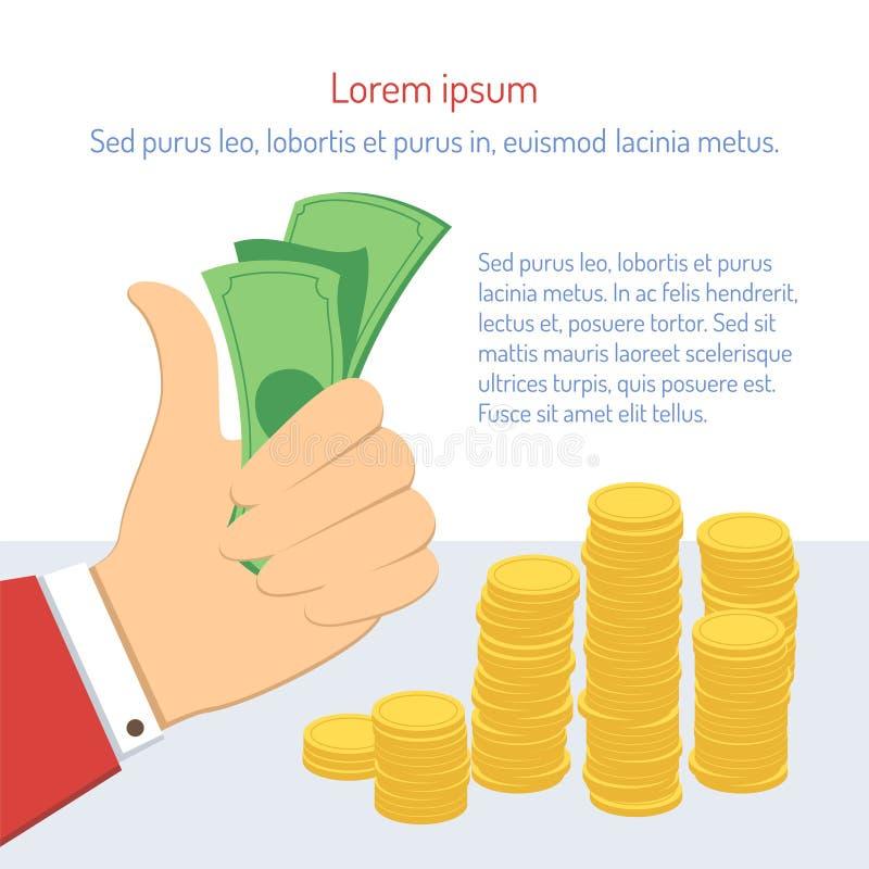 Biznesmena mienia pieniądze ilustracji