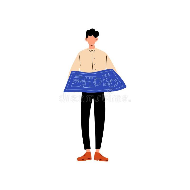 Biznesmena mienia projekta plan, raport, Biurowy Biznesowy dokument, młody człowiek Pracuje w Biurowej Wektorowej ilustracji royalty ilustracja